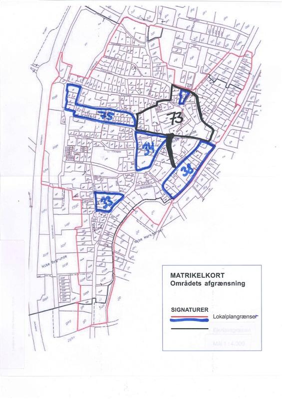 Ovenstående tegning viser Nibe's gamle bydele og hvor de forskellige lokalplaner dækker - alt indenfor rød streg er f.eks. Lokalplan 88